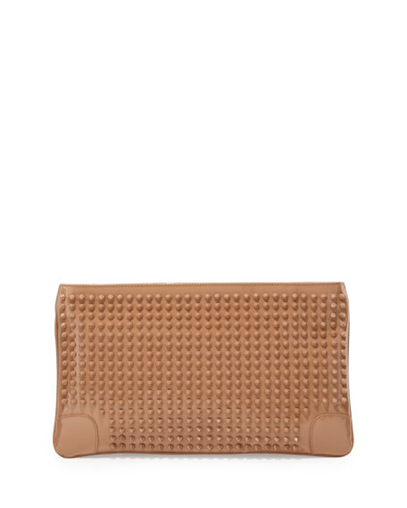 Loubiposh Studded Clutch Bag, Nude
