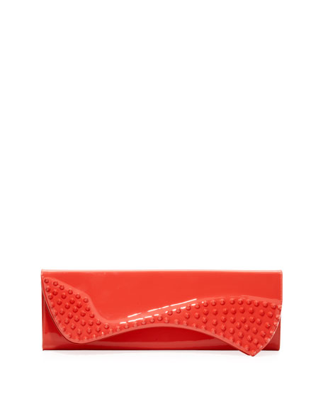 Pigalle Patent Spike Clutch Bag, Pink