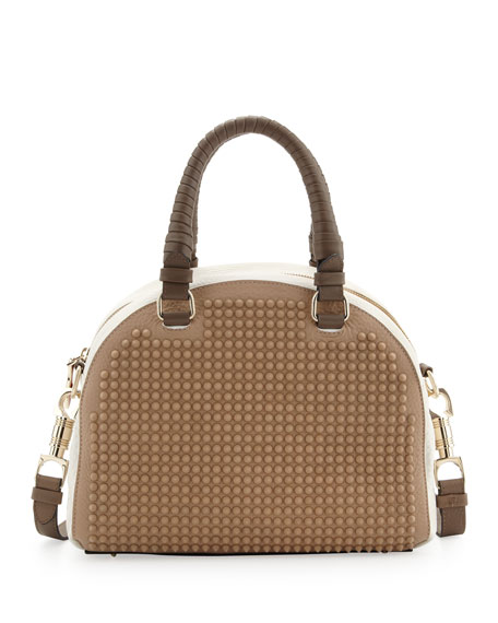 Panettone Studded Satchel Bag, Brown/White