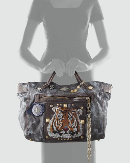 Bex Punk Leather Tote Bag, Black