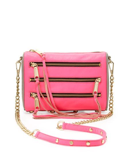 Five-Zip Mini Crossbody Bag, Neon Pink