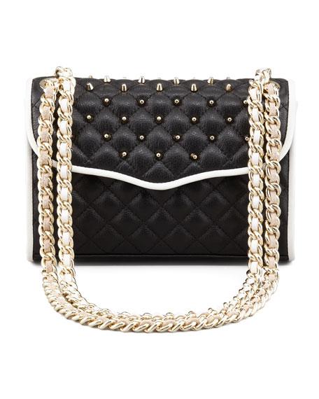 Quilted Affair Studded Mini Shoulder Bag, Black/White