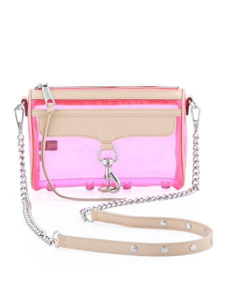 Mini MAC PVC/Leather Crossbody Bag, Pink