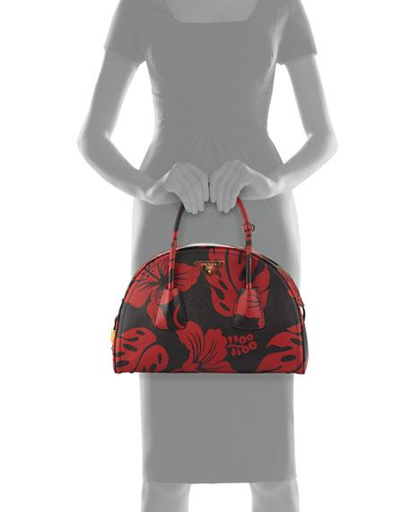 prada saffiano hibiscus double tote bag