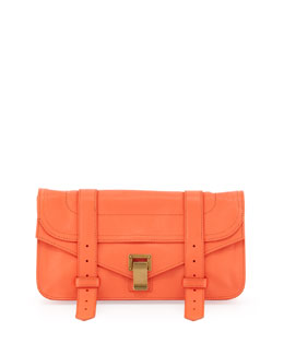 Proenza Schouler PS1 Pouchette Lambskin Clutch Bag, Grapefruit