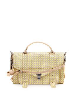 Proenza Schouler PS1 Triangle-Print Medium Satchel Bag, Concrete/Lemon