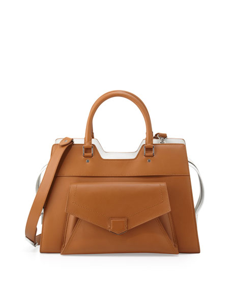 PS13 Bicolor Satchel Bag, Tan/White