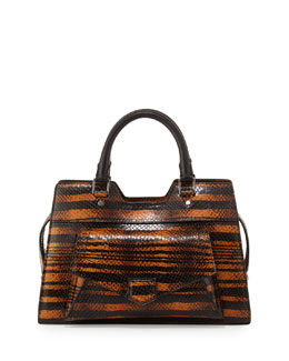 Proenza Schouler PS13 Striped Snake Satchel Bag, Orange/Black
