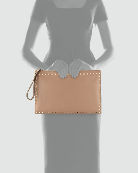 Rockstud Small Zip Wristlet Clutch Bag, Taupe