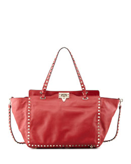 Valentino Rockstud Medium Tote Bag, Red