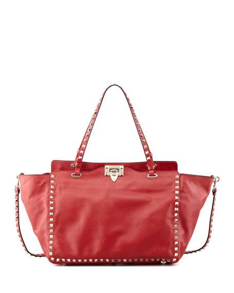 Rockstud Medium Leather Tote Bag Red