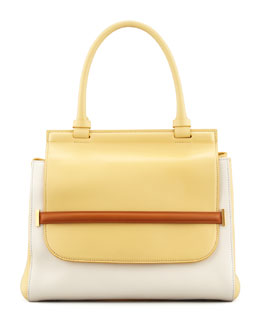 THE ROW Colorblock Top-Handle Satchel Bag, White/Camel/Canary
