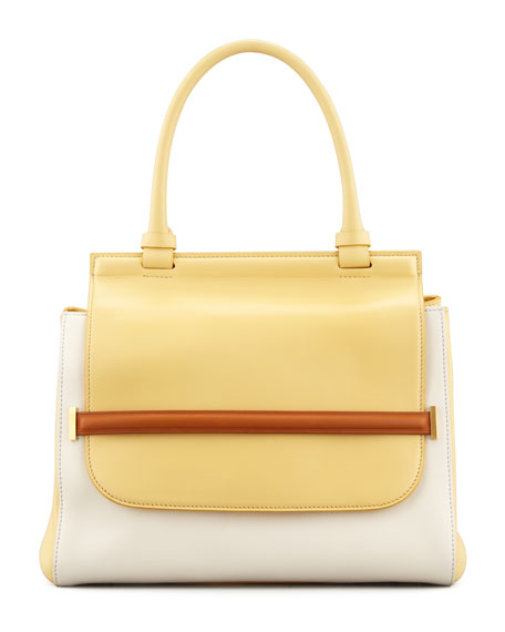 Colorblock Top-Handle Satchel Bag, White/Camel/Canary