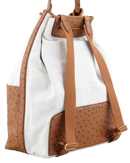 Bicolor Canvas and Ostrich Backpack