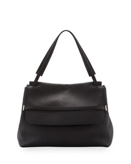 THE ROW Grained Top-Handle Medium Satchel Bag, Black