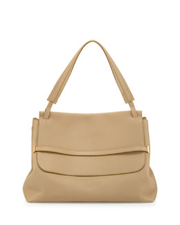 THE ROW Grained Top-Handle Medium Hobo Bag, Eggshell