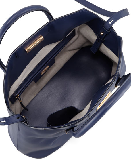 The Carry All Leather Tote Bag, Imperial Blue