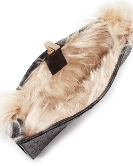 Small Ostrich/Alpaca Wrap Clutch Bag, Black