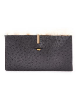 THE ROW Small Ostrich/Alpaca Wrap Clutch Bag, Black