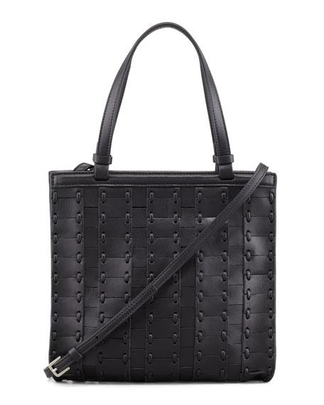 Woven Small Crossbody Shopper Bag, Black