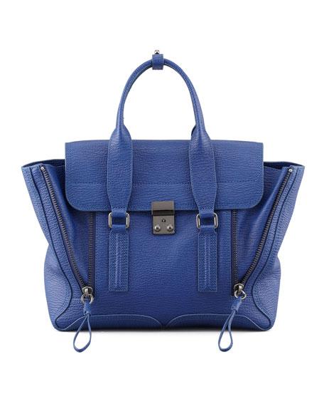 Pashli Zip Satchel Bag, Cobalt
