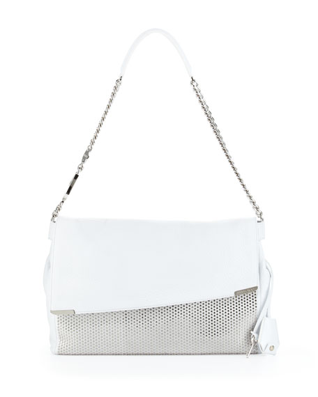 Ally Studded Handcuff-Strap Shoulder Bag, White