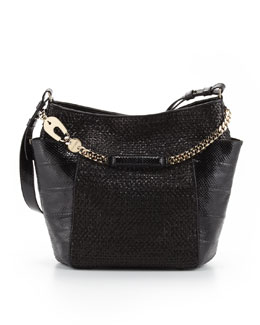 Jimmy Choo Anna Woven Leather & Snakeskin Tote Bag, Black