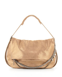 Jimmy Choo Biker Metallic Leather Shoulder Bag, Gold