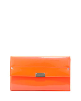 Jimmy Choo Reese Large Flap Clutch Bag, Orange