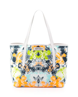 Jimmy Choo Sara Medium Orchid-Print Tote Bag, White/Black