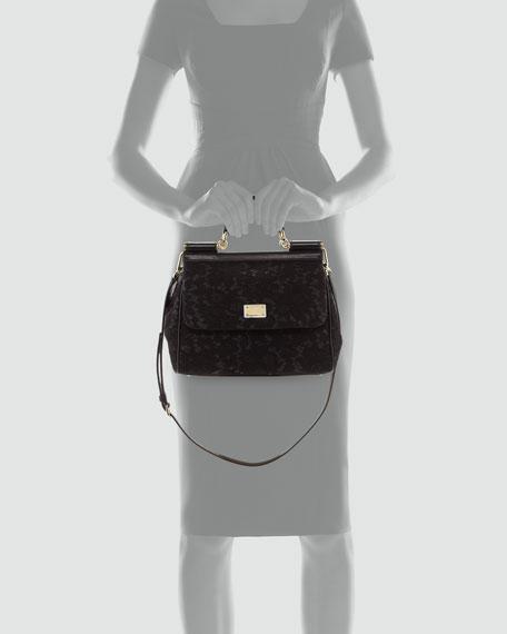 Miss Sicily Lace Satchel Bag, Black