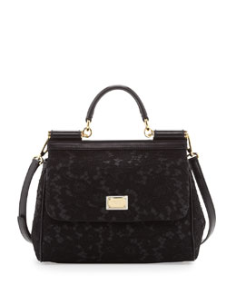 Dolce & Gabbana Miss Sicily Lace Satchel Bag, Black