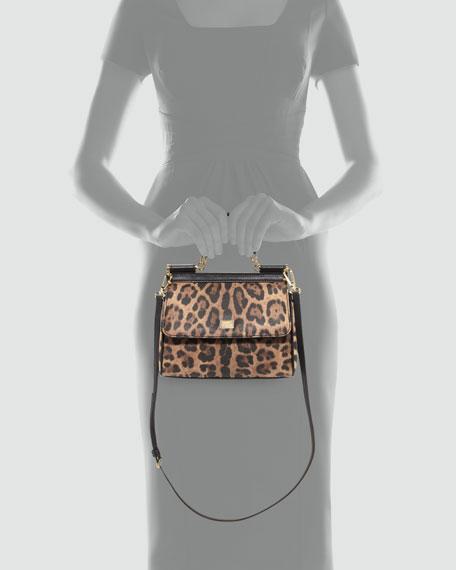 Sicily Mini Shopper Satchel Bag, Leopard