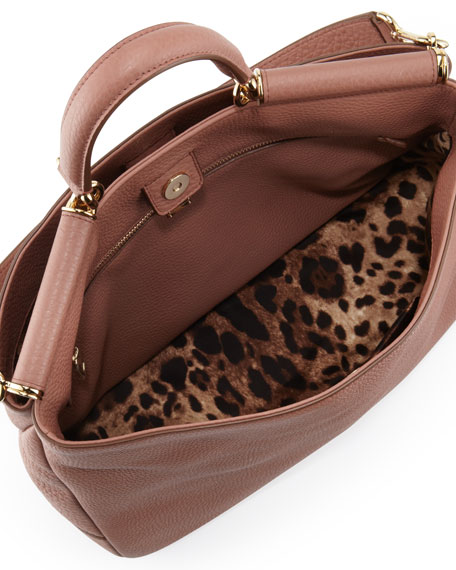 Sicily Top-Handle Satchel Bag, Brown