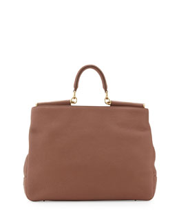 Dolce & Gabbana Sicily Top-Handle Satchel Bag, Brown