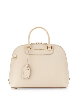 Dolce & Gabbana Megan Stamped Dome Satchel Bag, Nude