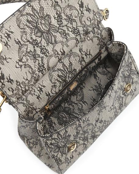 Miss Sicily Lace-Print Satchel Bag