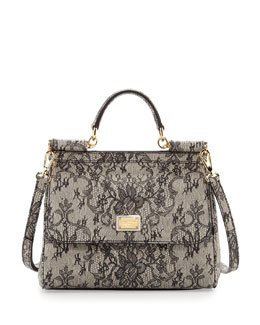 Dolce & Gabbana Miss Sicily Small Lace-Print Satchel Bag