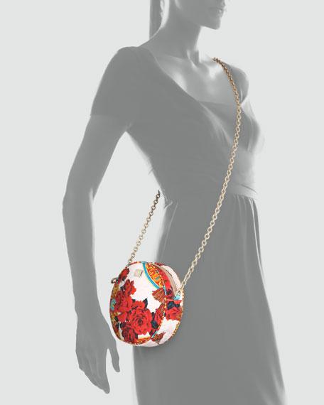 Glam Floral Round Crossbody Bag, Multicolor