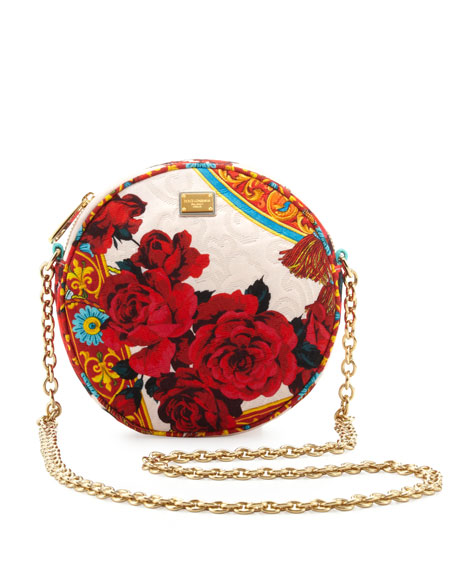Glam Floral Round Crossbody Bag, Multicolor