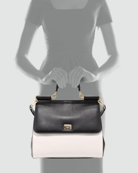 Miss Sicily Bicolor Medium Satchel Bag, Black/White