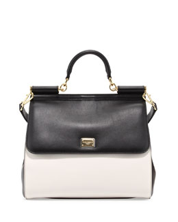 Dolce & Gabbana Miss Sicily Bicolor Medium Satchel Bag, Black/White