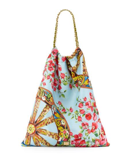 Anita Floral-Print Silk Tote Bag