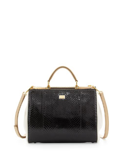 Dolce & Gabbana Miss Sicily Python Small Satchel Bag, Black/White