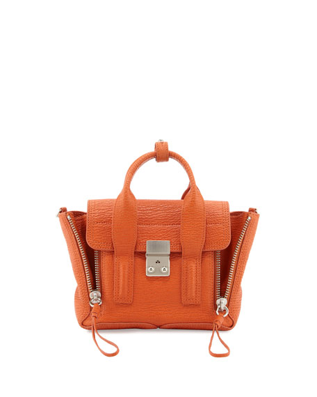 Pashli Mini Leather Satchel Bag, Orange