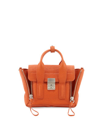 Pashli Mini Leather Satchel Bag, Orange