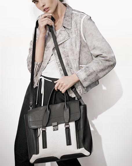 Pashli Colorblock Satchel Bag, White/Black