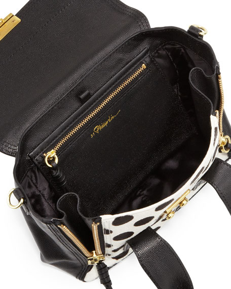 Pashli Mini Spotted Calf Hair Satchel Bag, Black/White