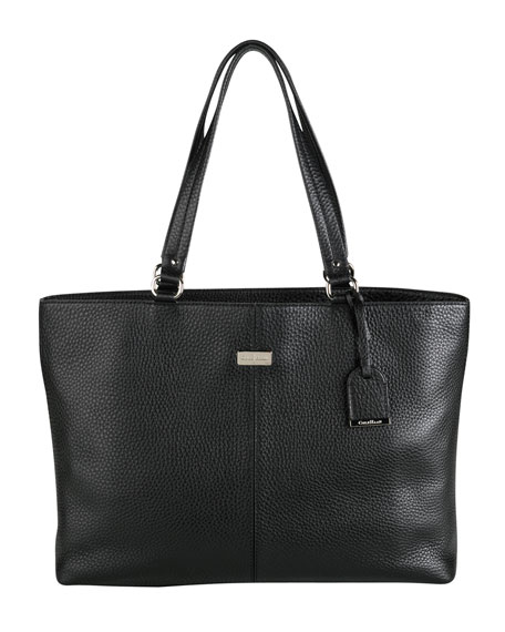 Leather East/West Tech Tote Bag, Black