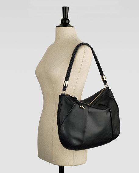Adele Pleated Hobo Bag, Black
